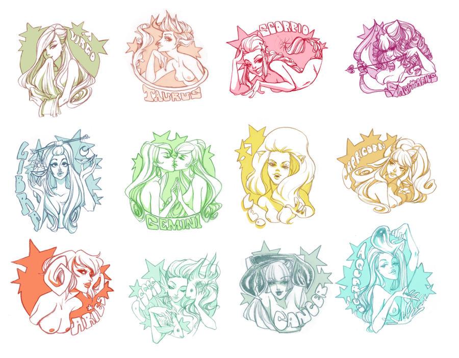 Zodiac Girls 2.0 by babsdraws