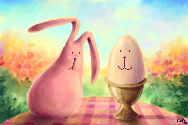 pink fluffy bunny and the egg by Bakenius