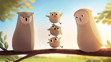 3 little owls make one big owl