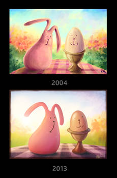 Pink Bunny and the egg comparison