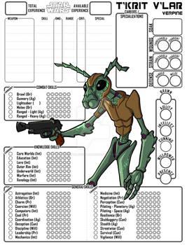 Custom Character Sheet Commission - T'krit V'lar
