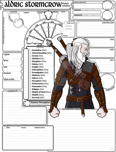 Custom Character Sheet Design : Commissioned character sheet e dnd aldric by