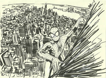 Spidey scaling the Empire State Building by CagsCreations