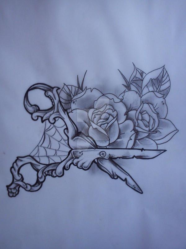 Scissors and roses tattoo by Malitia-tattoo89