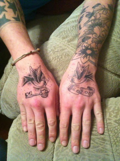 Hand swallow tattoos by malitia tattoo89 on deviantart for Swallow hand tattoo