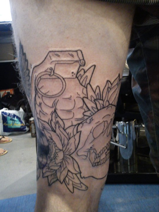 Outline back of thigh skull tattoo by malitia tattoo89 on for Tattoos on back of thighs