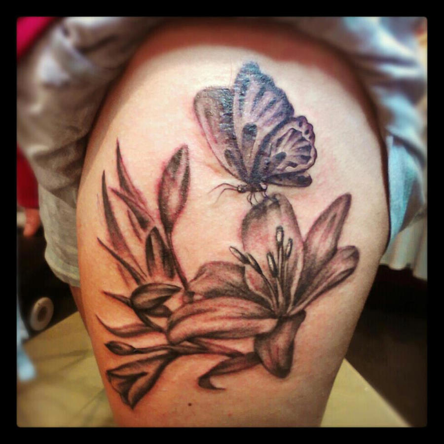 Lily And Butterfly Tattoo By Malitia Tattoo89 On Deviantart