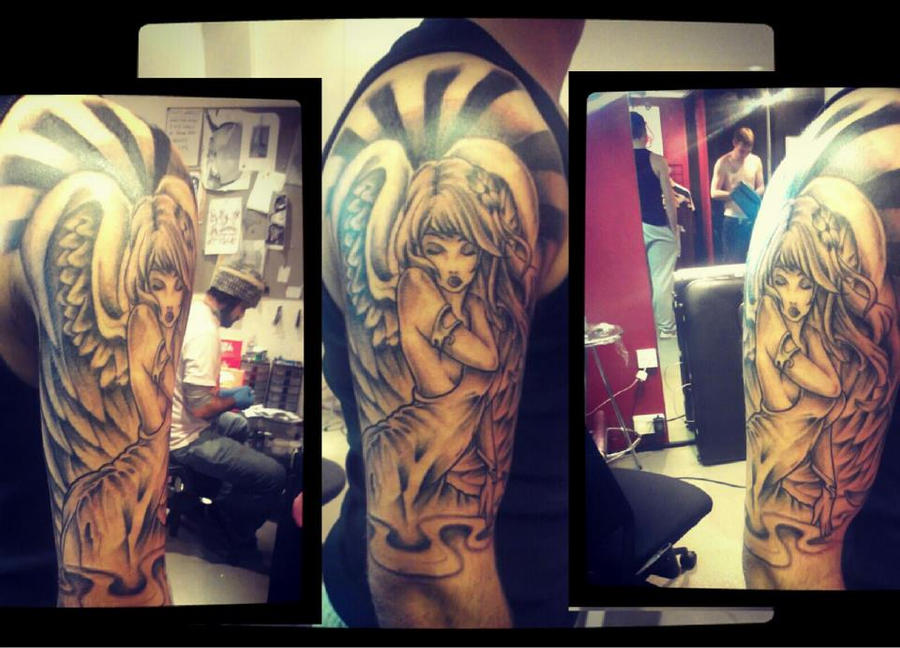 Angel top sleeve by Malitia-tattoo89