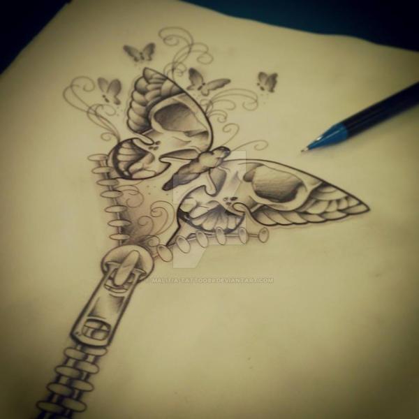 Butterfly Zip Tattoo By Malitia-tattoo89 On DeviantArt