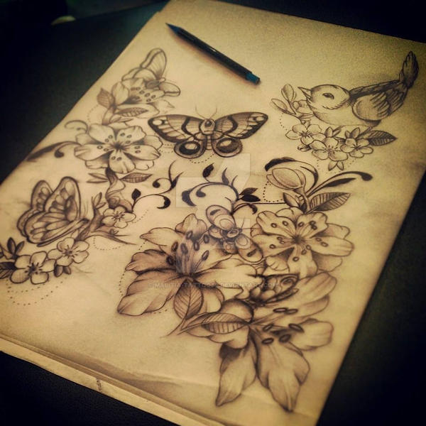 butterfly flower tattoo by malitia tattoo89 on deviantart. Black Bedroom Furniture Sets. Home Design Ideas