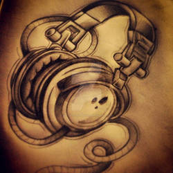Headphones tattoo