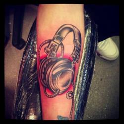 Head phones tattoo