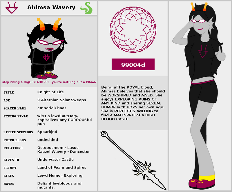 Character Design Theme Generator : Ahimsa wavery homestuck fantroll by darkwoodsprince on