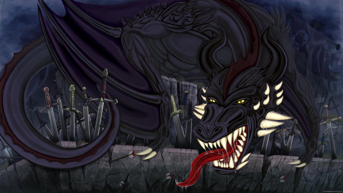 savage black dragon of nightmares by alfiedoodoohead
