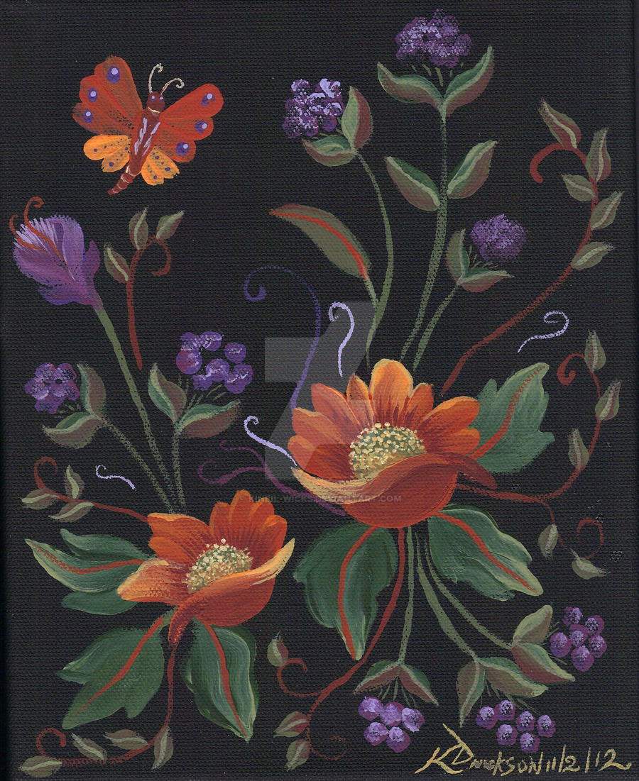russian flowers with butterfly 1 by kineil wicks on deviantart