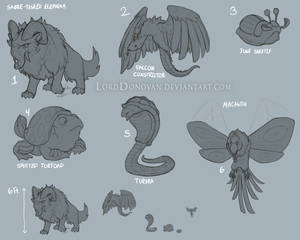 Crystal Core Land and Air Creature Concepts