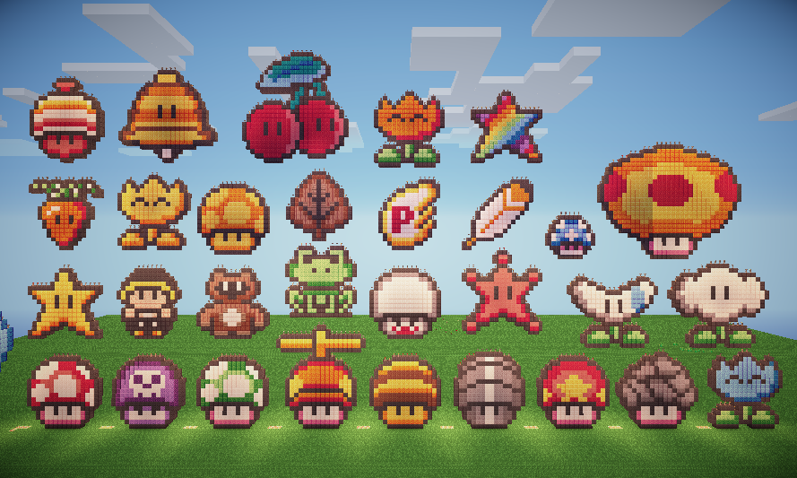 The Great Mural Of Mario S Power Ups By Guille10minecraft On