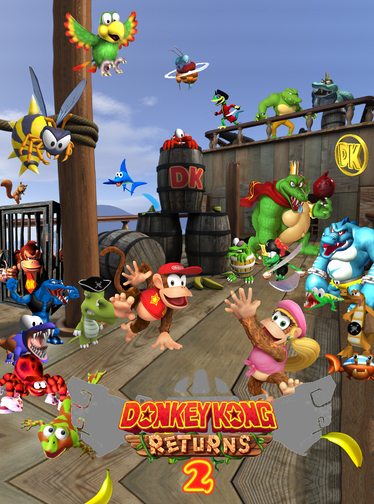 donkey kong country returns 2 poster by crazychristian28