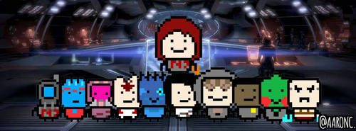 Mass Effect 2 Shepard with his Crew