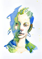 playful portrait green and blue