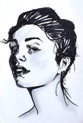 fine lady pen drawing by Neivan-IV