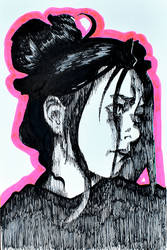 Worried portrait of an ink woman by Neivan-IV