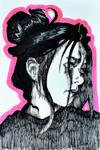 Worried portrait of an ink woman