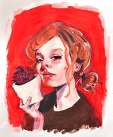 red flower lady
