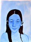 blue girl gouache portrait by Neivan-IV