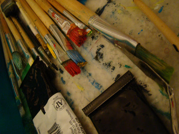 Dirty Paint Brushes by nanagirl-stock