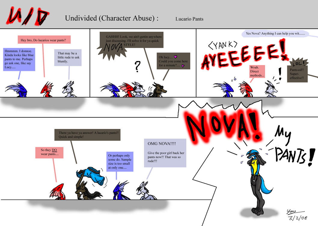 Undivided: CA,  Lucario pants by Snowfyre
