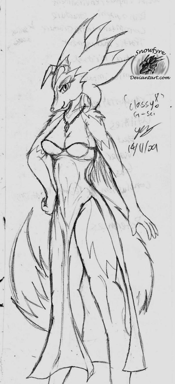 Sketch: G-sci in a dress by Snowfyre
