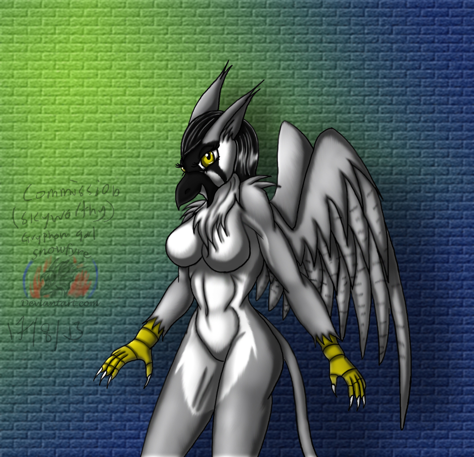 Commission: Skyworthy's gryphon girl by Snowfyre