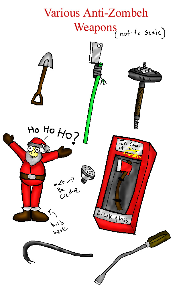 Improvised anti-Zombie weapons by Snowfyre