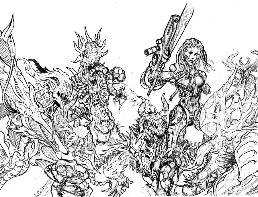 Bloodlust 3. wraparound cover (pencil) by BloodlustComics