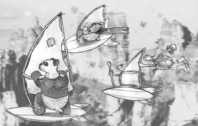 Panda Koala Frog Tortoise - Wind Canyon! by SeanDrawn