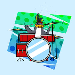 Penguin on Drums