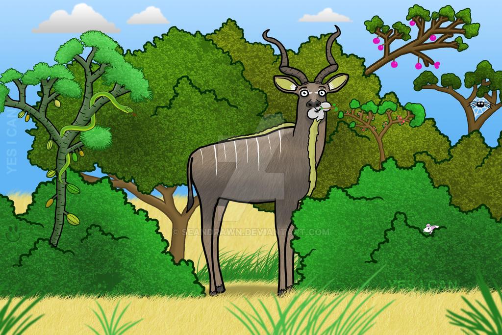 Kudu Munching by SeanDrawn