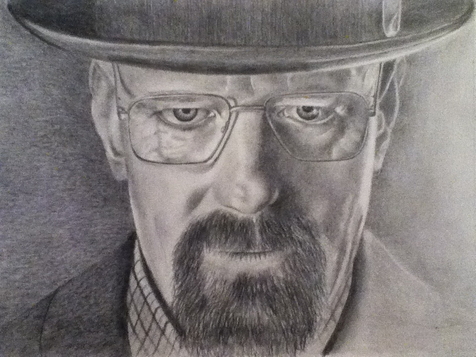 Walter white from breaking bad graphite drawing by donnabe