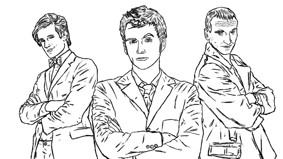 Doctor who line wip by manlikeyeti on deviantart for Dr who coloring pages