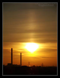 2009.06.09 Sun Pillar in Lodz by Atmospheric-Bloo