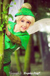 tinkerbell  behind a tree