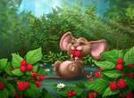 Momo and the raspberry