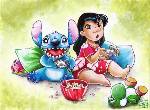 Lilo and Stitch playing video games, commission