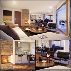Interior Kitchen Livingroom