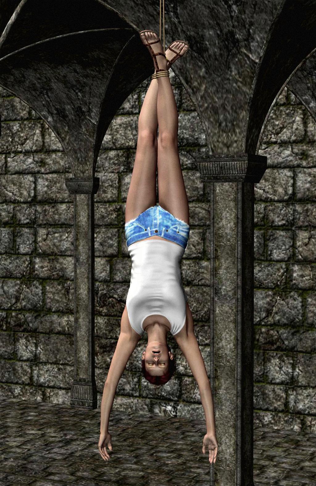 nude girls hanging upside fown