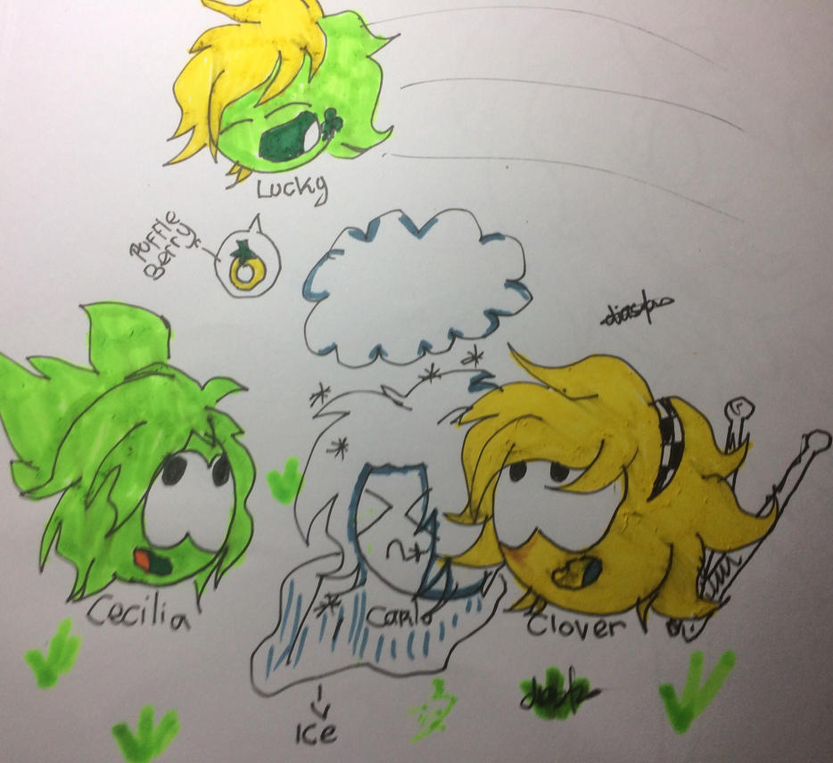 Lucky and FS Character Puffle(Green,White,Yellow) by DiastriVelvet