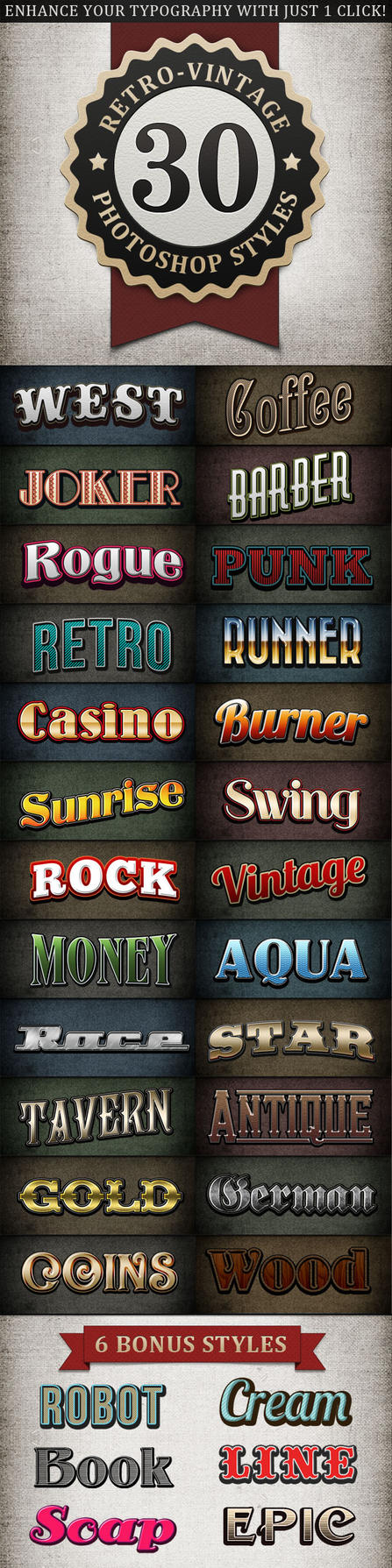 Retro Vintage Text Styles Bundle by nexion218