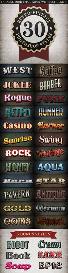 Retro Vintage Text Styles Bundle
