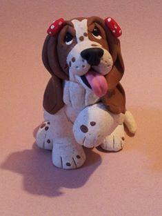 Basset Hound Polymer Clay by HeatherElmore